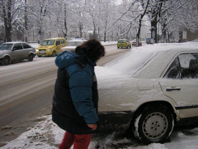 белият 124, зимата - 29 януари 2005; почистване